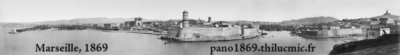Photo panoramique des ports de Marseille, 1869